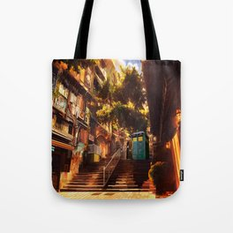 Time Traveller lost in china town Tote Bag