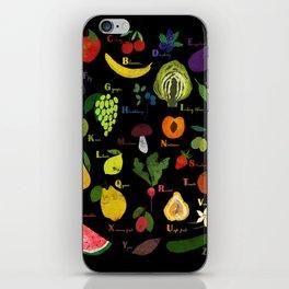 English fruit and vegetables alphabet on dark iPhone Skin
