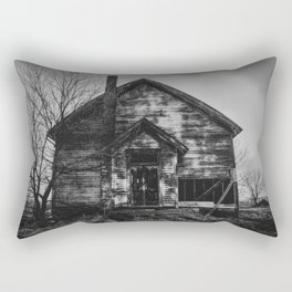 School's Out - Abandoned Schoolhouse in Iowa in Black and White Rectangular Pillow