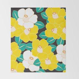 Shades of Tsubaki - Yellow & Black Throw Blanket