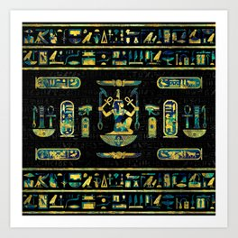 Egyptian  Gold and Blue Marble Ornament Art Print