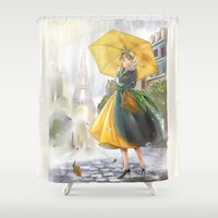 bonjour Shower Curtains featuring bonjour paris! by Moonsia
