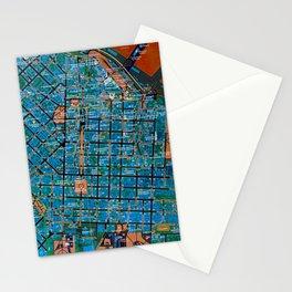 Odessa antique map, colorful mas, classic artwork Stationery Cards