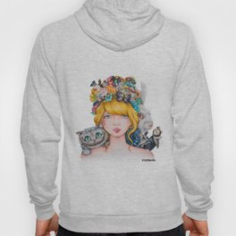 Alice in Wonderland Rendition Cartoonised Drawing Hoody