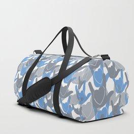 ASL I LOVE YOU HEARTS BLUE Duffle Bag