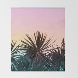 Sunset tropical palms Throw Blanket
