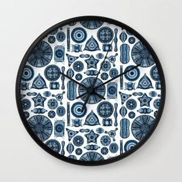 Ernst Haeckel Diatomea Diatoms in Navy Blue Wall Clock