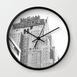 New Yorker Sign - NYC Black and White Wall Clock