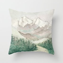 Road to snowy mountains Throw Pillow