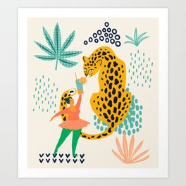 Girl playing with cheetah illustration Art Print