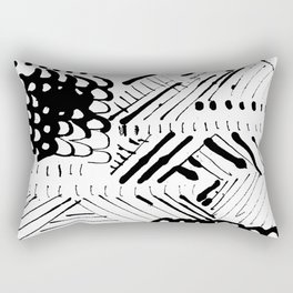 Black and White Ink Abstract Mark Making Pattern Rectangular Pillow