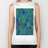 moroccan Biker Tanks featuring Glitter Moroccan by Saundra Myles