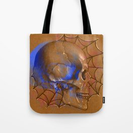 Electric Blue Traditional Skull  Tote Bag