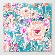 WAHINE WAYS Aqua Tropical Floral Canvas Print