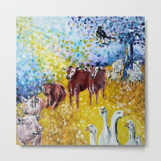 Farm Animals Protected by Brigit Metal Print