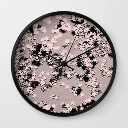 Blush Glitter Stars #1 #shiny #decor #art #society6 Wall Clock