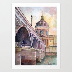 Paris, Pont des arts and institute de France - watercolor painting  Art Print