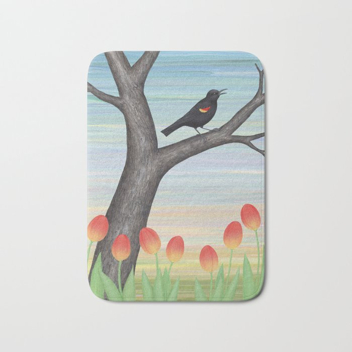 red winged blackbird and tulips Bath Mat