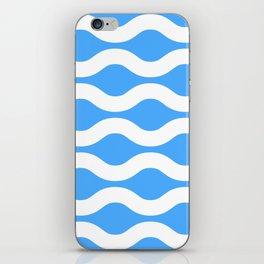 Wavey Lines White & Blue iPhone Skin
