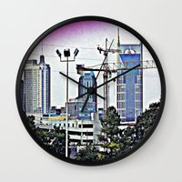 nashville Wall Clocks featuring Nashville Grit by Andooga Design