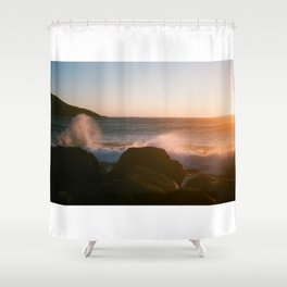 sunset beach Shower Curtain