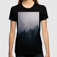 Lost in the Fog Black Womens Fitted Tee SMALL
