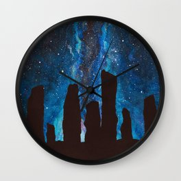 Outlander Craigh Na Dun Standing Stones Watercolor Painting with milky way galaxy Wall Clock