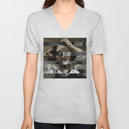 "Gustave Courbet ""The Desperate Man"" Self Portrait & James Stewart in Vertigo Unisex V-Neck"