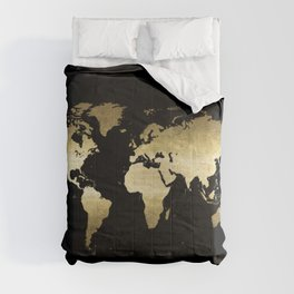 gold foil world map on black background Comforters