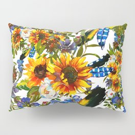 Abstract navy blue yellow watercolor sunflowers pansies pattern Pillow Sham