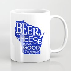 Blue and White Beer, Cheese and Good Company Wisconsin Graphic Mug