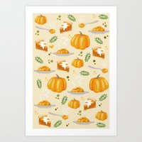 pumpkin Art Prints featuring pumpkin by Ceren Aksu Dikenci