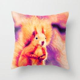 squirrel digital oil paint doplsh Throw Pillow