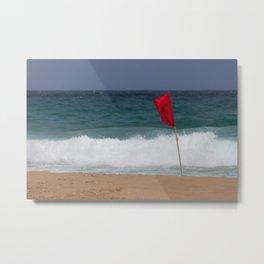 Red flag No Swimming Metal Print