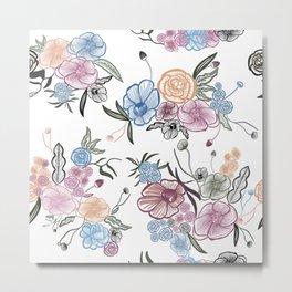 Queenie Thrift Hand Drawn Flower Metal Print