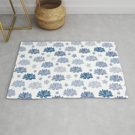 blue waterlilies and turtles on white Rug