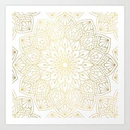 The Golden Mandala Illustration Pattern Art Print