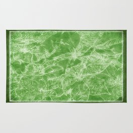 Mixed color Poinsettias 3 Outlined Green Rug