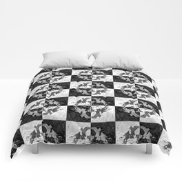 Swimming Glyphs and Sunflowers: Checkered Version Comforters