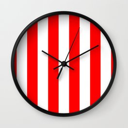 Australian Flag Red and White Wide Vertical Beach Stripe Wall Clock