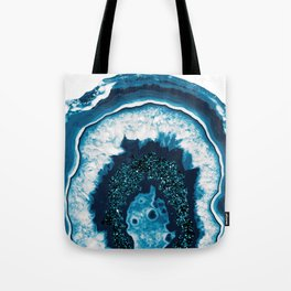 Blue White Agate with Blue Glitter #1 #gem #decor #art #society6 Tote Bag