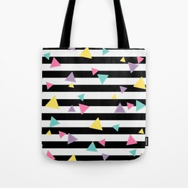 80's Black White Colorful Triangle Tote Bag