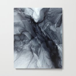 Gray Black Gradient Dramatic Flowing Abstract Painting Metal Print