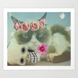Cat bohoo Art Print