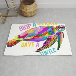 Skip a Straw Save a Turtle Tees Save Turtles Tee Shirt Rug