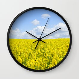 Meadow of Yellow Wall Clock