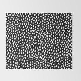 Handmade polka dot brush strokes (black and white reverse dalmatian) Throw Blanket