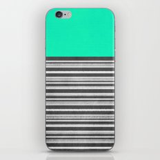 Mint Gray Stripes iPhone & iPod Skin