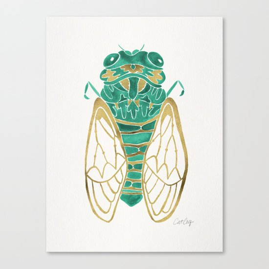 Cicada – Green & Gold Canvas Print