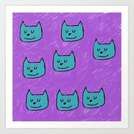 Cute Cats in blue Art Print